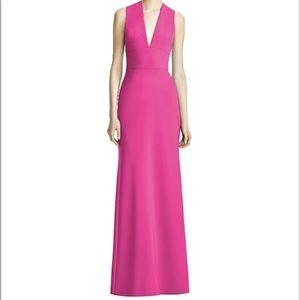 Lela Rose v neck long formal dress in fuchsia